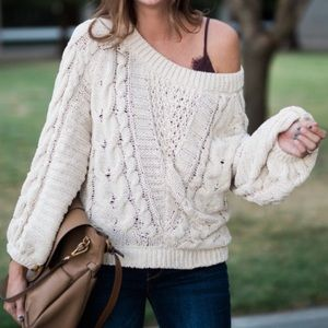 Cable Knit Balloon Sleeve Express Sweater